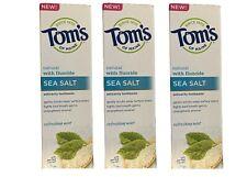 3 x Tom's of Maine Sea Salt Refreshing Mint Fluoride Toothpaste 4.7 oz Exp 4/21