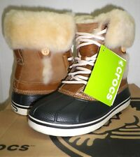 5b645d35a4 Crocs Womens Allcast Luxe Leather Duck Boot Faux Fur Hazelnut stucco W 9 US