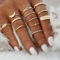 12pcs Boho Vintage Women Crystal Ring Set Midi Finger Plain Above Knuckle Rings