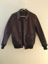 Schott Brown Leather Bomber Jacket Modified Size Excellent Condition