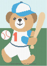 Crochet Patterns - SPORTS - BASEBALL BEAR Baby Graph Chart Afghan Pattern