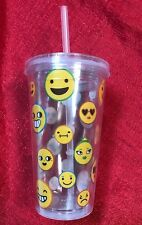 Double-Wall Plastic Tumbler w/ Lid & Straw Smiley Emoji And Many More Faces 14oz