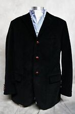 RALPH LAUREN POLO BLACK CORDUROY MENS 40 L SPORT COAT BLAZER LEATHER PATCH ITALY