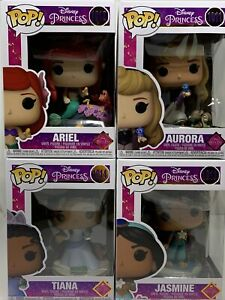 Disney Ultimate Princess Funko Pops! Ariel, Jasmine, Aurora, AND Tiana In Hand