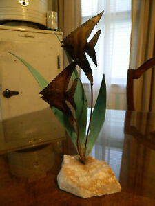 Vintage Copper Angel Fish And Sea Grass Quartz Bottom Sculpture Artist Signed
