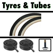 2x White Wall Tyre 20 x 1.75 (47-406) Retro Classic BMX Childrens Bike & SCH Tub
