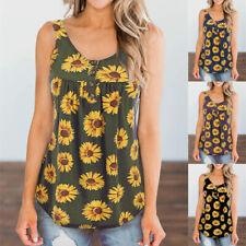 Women Summer Crew Neck Sleeveless T Shirt Sunflower Print Blouse Casual Tank Top