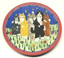 """Catzilla Candace Reiter Handpainted 2001 Plate with Standing Cats, 8"""" Diameter"""