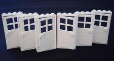 Lego X6 White Door With 4 Panes,Stud Handle And 1x4x6 Door Frames Part