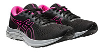 Asics Womens Size 8.5 Black Pink Gel-Excite 7 Running Shoes N1891*
