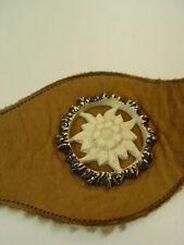 Echt Vintage Hosenträger Länge: 95 cm Lederhose Geschirr Edelweis Emblem HT034