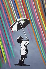 Canvas Banksy Street Art Rainbow Rain Painting 80cm X 50cm