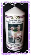 3rd Wedding Anniversary personalised Candle gift