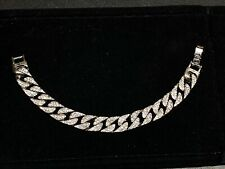White Gold Tone Wide Link Lab Diamonds Men's Fashion Cuban Link Ice 8� Bracelet