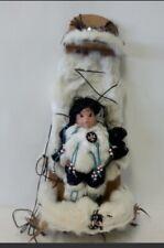 "Native American Doll on Rabbit Fur - Wall Decor 33"" Long FREE SHIPPING"