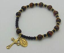 "Men's Tiger Eye Stretch Rosary Bracelet ~ 8"" - Gold (TGP800)"