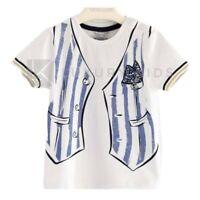 T-Shirt Mezza Manica In Cotone Con Stampa Finto Panciotto Bambino Sarabanda J511