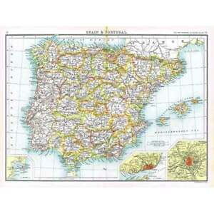SPAIN and PORTUGAL Antique Map 1902 by Bartholomew; Inset of Gibraltar, Lisbon