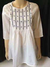 NEW wTAG Peasant Top Tunic Boho Kurti Shirt Blouse M - L White Blue Embroidery