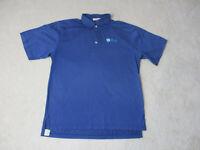 Peter Millar Golf Polo Shirt Adult Medium Blue Barclays Cotton Rugby Golfer *