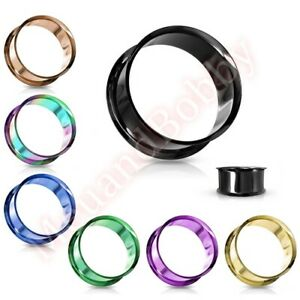PVD Plated Double Flare Ear Tunnel Body Piercing Jewellery CHOOSE SINGLE OR PAIR