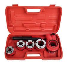 Ratcheting Ratchet Pipe Plumbing Tool Threader Kit Set 5 Stock Dies Handle Case