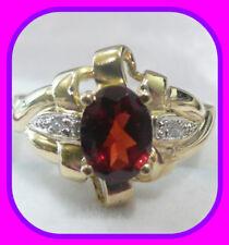 HEAVY 4.1G SOLID 9CT GOLD GENUINE GARNET & DIAMOND ENGLISH RING UK HM~SZ M