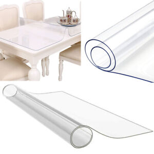 2mm Thick Clear Transparent Vinyl PVC Tablecloth Table Protector Cover 50-200cm