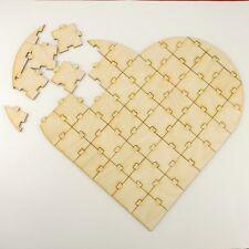 Puzzle aus Holz in Herzform 47 Teile Gästebuch Hochzeitsspiel Geburtstag Basteln