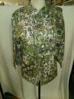 Erika Womens Button Front  Shirt Green Print with Sequins Size 2X