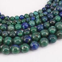 """15"""" Natural Lapis Lazuli Chrysocolla Gemstone Round Loose Spacer Bead 4/6/8/10mm"""