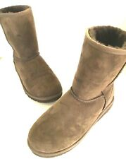 UGG Australia Chocolate Brown Classic Short Slip On Suede Leather Boots 6 5251