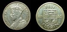 Fiji 1935 Florin, Rare High Grade, High Grade AU, Luster, Sharp, Low Mtg 50,000