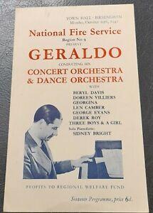 1942 Geraldo Orch Concert Programme Town Hall Birmingham National Fire Service