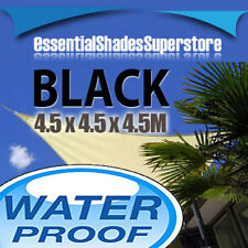 WATERPROOF TRIANGLE BLACK 4.5x4.5x4.5 SUN SHADE SAIL AWNING 4.5 x 4.5 x 4.5m