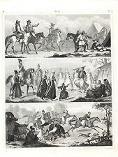 Stampa antica COSTUMI CURDI Curdistan TARTARI PERSIA Iran 1851 Old antique print