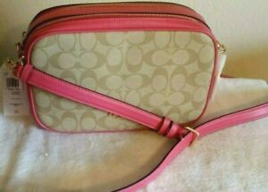 COACH JES Crossbody -signature Khaki canvas with Pink accents  NWT