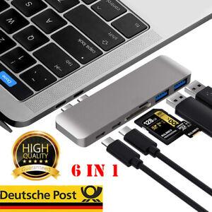 USB C Hub für MacBook Pro -Air Dual Typ C Adapter Thunderbolt 4K USB 3.0 6 in 1