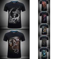 S-6XL Rock 3D Print Mens Skull Dragon Graphic T-shirts Punk Band Casual Tee Tops