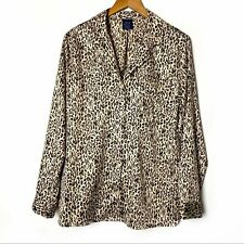 APT. 9 Women's Leopard Pajama Top Satin Finish Long Sleeve Size Small