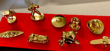 Hollywood Dominos, 9 gold tone pewter metal tokens charm miniature. Replacement