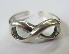 Sterling Silver Adjustable Toe Ring Figure 8 Infinity Design Solid 925 Jewelry