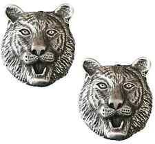More details for 2 x tiger head handcrafted from lead free english pewter pin badges-hin-1335