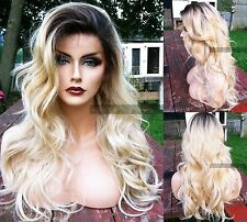 Wavy Light Blonde Ombre LACE FRONT & Skin PART Curly THIN Heat OK Dark Roots Wig