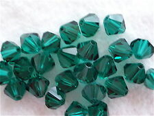 20 Emerald Green Swarovski Crystal Beads Bicone 5328 6mm