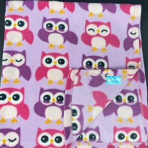 Safety First Purple Pink Owls Fleece Baby Blanket Security Lovey FAST SHIP 1st