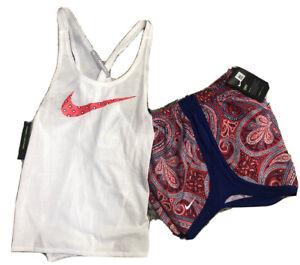 Women's Nike Paisley Shorts Tank Running Shorts & Top S NWT