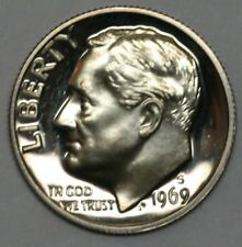 1969 S Roosevelt Dimel in Gem DCAM Proof Condition US Silver Coin