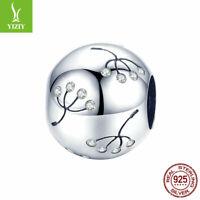 Women Authentic 925 Sterling Silver Accessories Dandelion Charm Fit Bracelet NEW