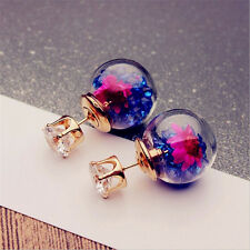 Candy Color Double Side Flower Drop Earrings Crystal Ball Ear Studs Gold Plated